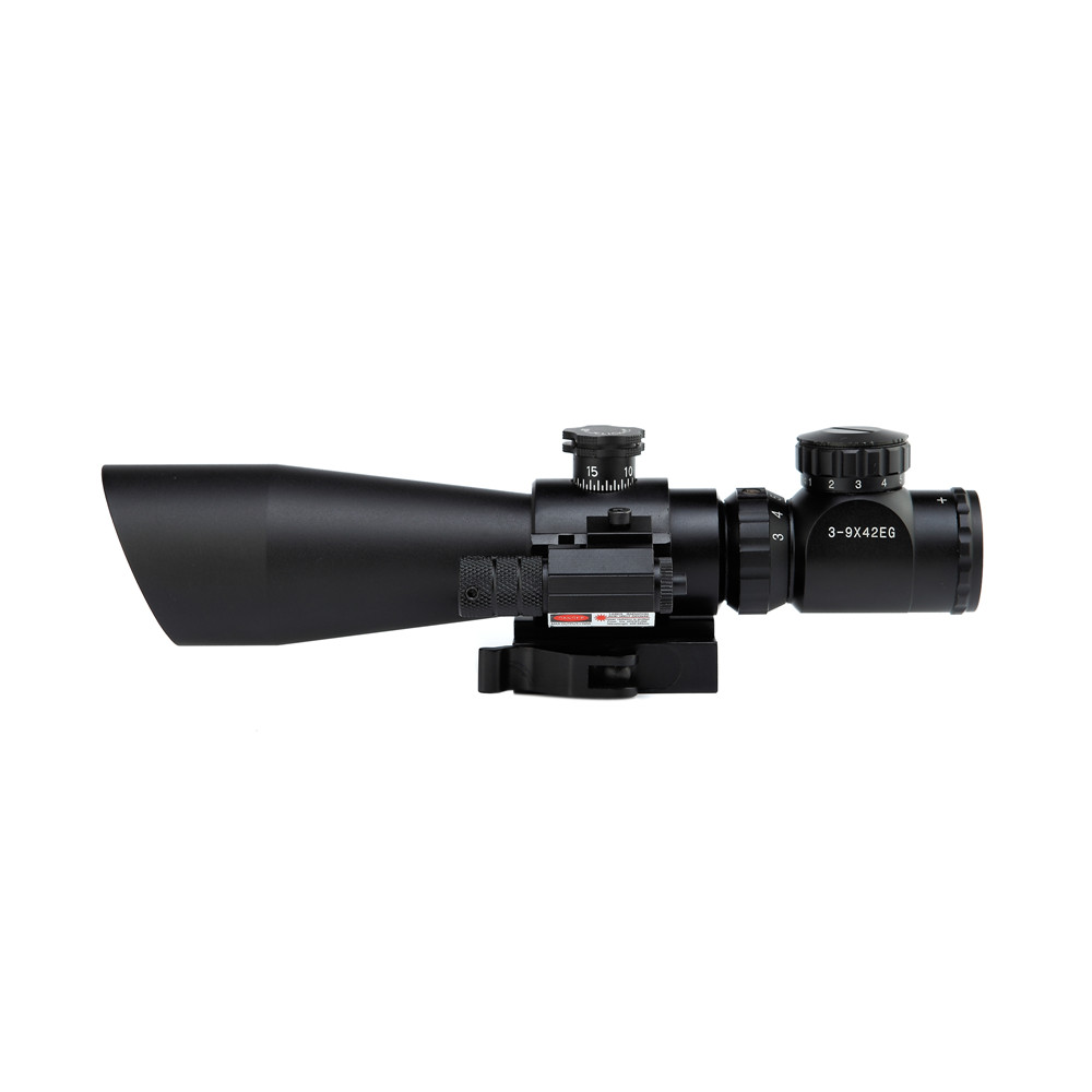 3-9x42 EG Hunting Rifle Scope + Red Laser Sight / Tactical Airosft R/ Green Dot Illuminated Telescopic Riflescope With Red Laser zos 3 9x42 tactical optical scopes red and green laser riflescope hunting rifle scope with 20mm mounts for air soft gun caza