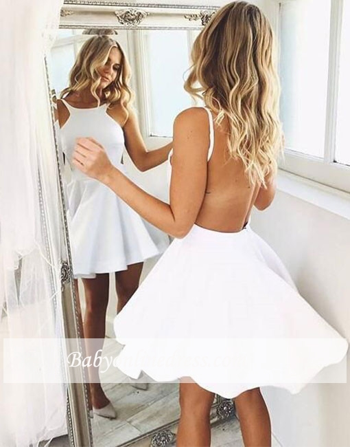 White 2019 Elegant Cocktail Dresses A-line Halter Short Mini See Through Sexy Party Plus Size Homecoming Dresses