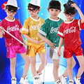 5pcs/lot Free Shipping Sequin Hip Hop Jazz Dance Costumes for Girls Boys Kids Children Stage Competition Ballroom Hiphop Clothes