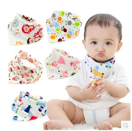 Baby Bib Waterproof Triangle Cotton Cartoon Child Baberos Bandana Bib Babador Dribble Bibs Newborn Slabber Absorbent Burp Cloth(China)