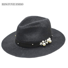 New Summer Hat Panama Hats Hollow Out Straw Hat For Men Women Pearl Ribbon Large Brim Sun Beach Hat Jazz Cap Fedora 2019 new summer jazz cap beach straw caps fedora hats for men fedoras panama hat