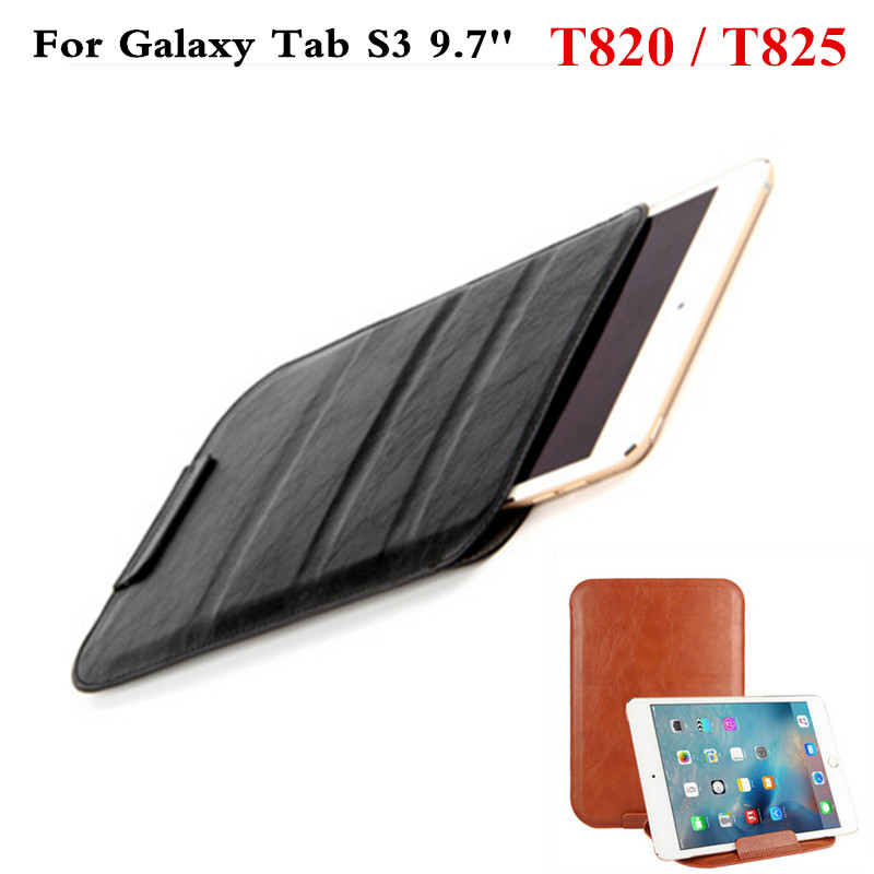 Luxury PU Leather ultra-thin Sleeve Pouch Protective  Case for Samsung Galaxy Tab S3 9.7 T820 T825 9.7 inch Tablet PC bag floveme luxury flip stand case for samsung galaxy tab3 10 1 p5200 tab3 pu leather protective cover pouch bag black for tab 3