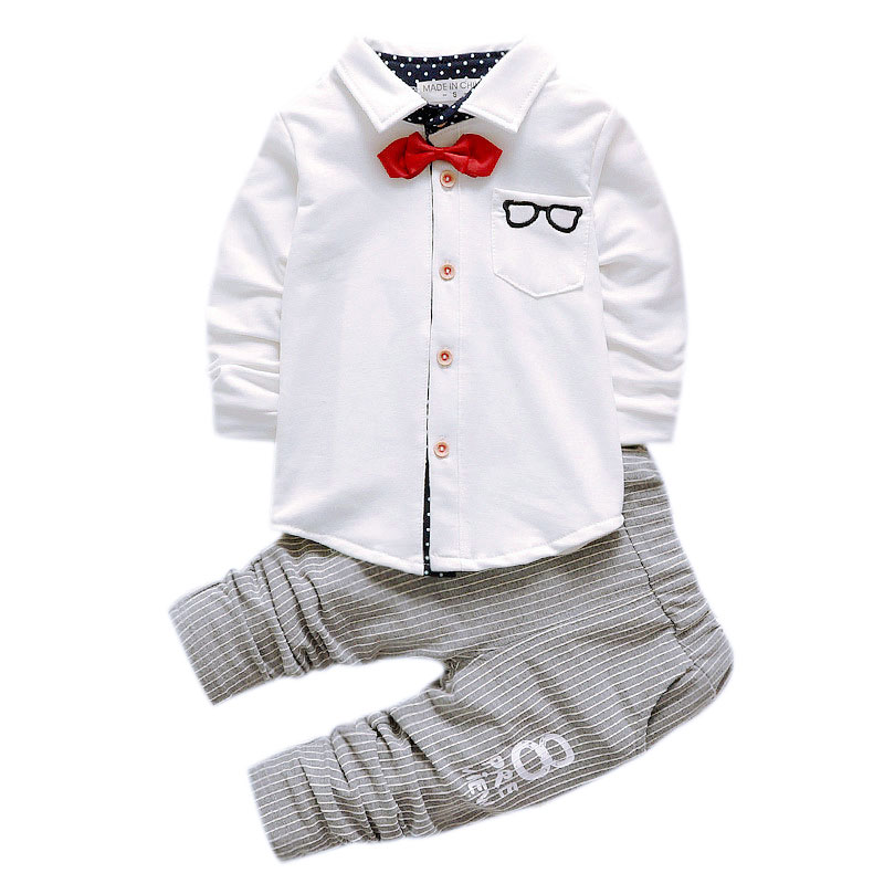 1 2 3 year small gentlemen birth day wedding party suit Bow tie boys dress shirts pants toddler boy whtie shirt set for children
