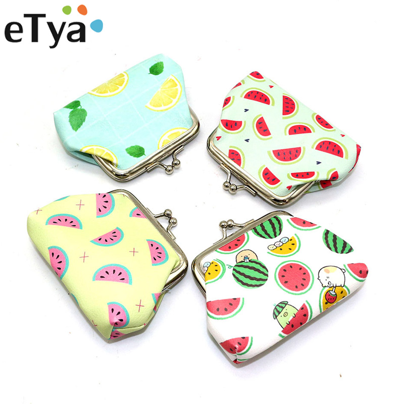 eTya Fruit pattern Coin Purse for Women Change Purse Fashion PU Leather Female Wallets Girls Student Small Wallet Children gifts