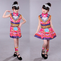Girls Chinese Hmong national dance costumes Kids performance miao dancing clothing festival Outfits Tops Skirt with headdress