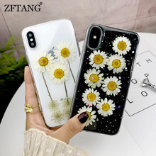 Real Flowers Dried Soft TPU Phone Case For iPhone X XS XR Max 6 6S 7 8 Plus Transparent Beautiful Handmade Back Cover