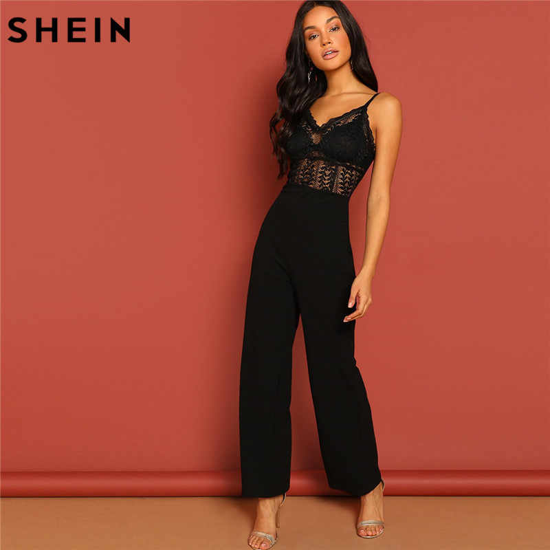 6c13f12dbccf SHEIN Black Lace Hollow Jumpsuit Sexy Spaghetti Strap Sleeveless Women  Summer Maxi Party Jumpsuits Night Out