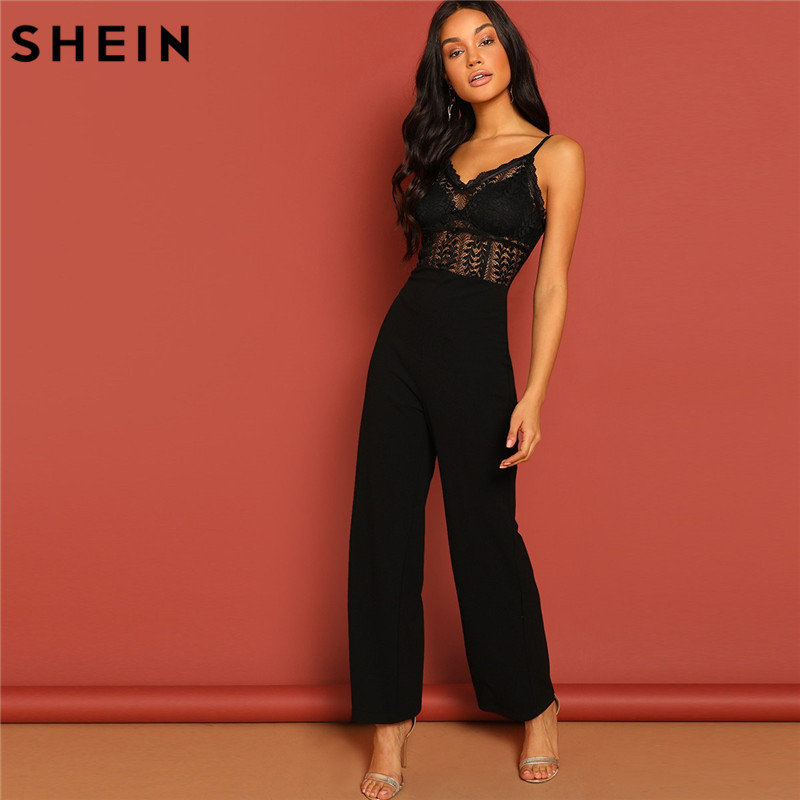 SHEIN Black Lace Hollow   Jumpsuit   Sexy Spaghetti Strap Sleeveless Women Summer Maxi Party   Jumpsuits   Night Out Sheer   Jumpsuit