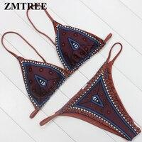 ZMTREE Retro Printed Bikini Set Triangle Bikini Women Bathing Suit Swimwear Halter Swimsuit Bohemia Micro Biquini