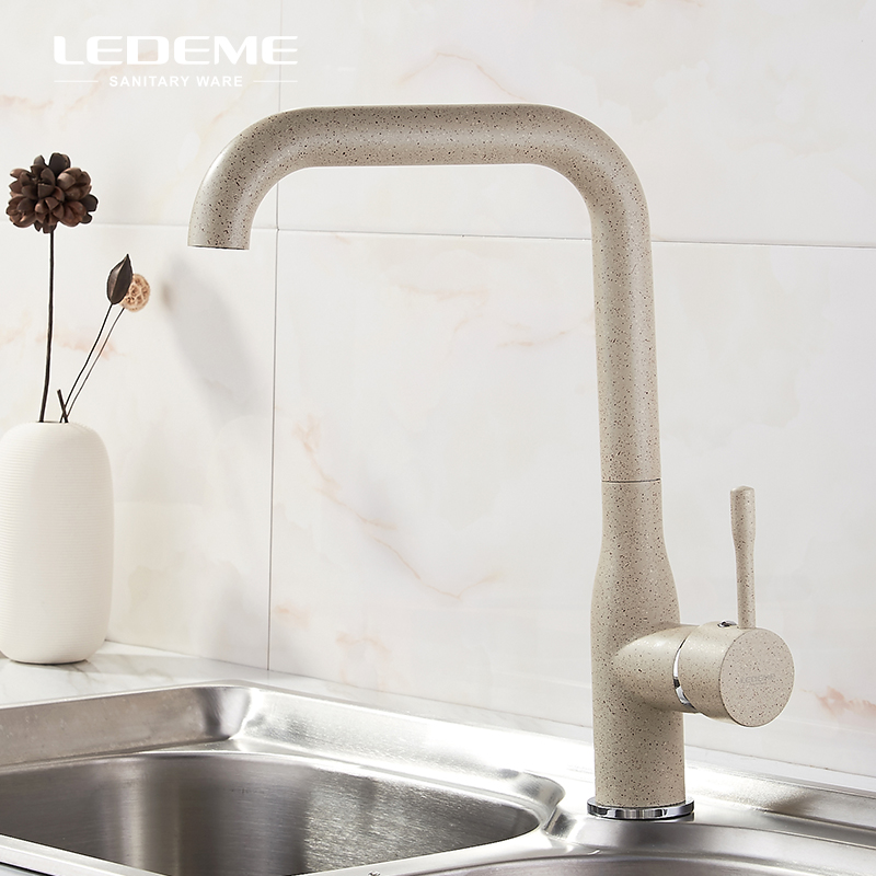 LEDEME All Khaki Kitchen Sink Faucet High-Arc One-Handle Bar Brass Cold Hot Water Tap Mixer For Kitchen, Khaki Painting L4698M