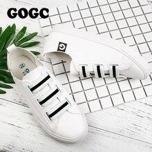 GOGC 2017 Женщины Плоские Туфли Дышащие Кожаные Ботинки Весна Лианы Повседневная Скольжения на Женской Обуви Ходить Обуви Slipony Женщины