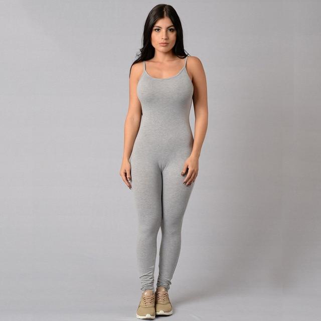 3a63e1efebf0 Woman Tight Sexy Bodysuit 2018 Solid Color Playsuit V-Neck Sleeveless  Bodycon Cotton Grey