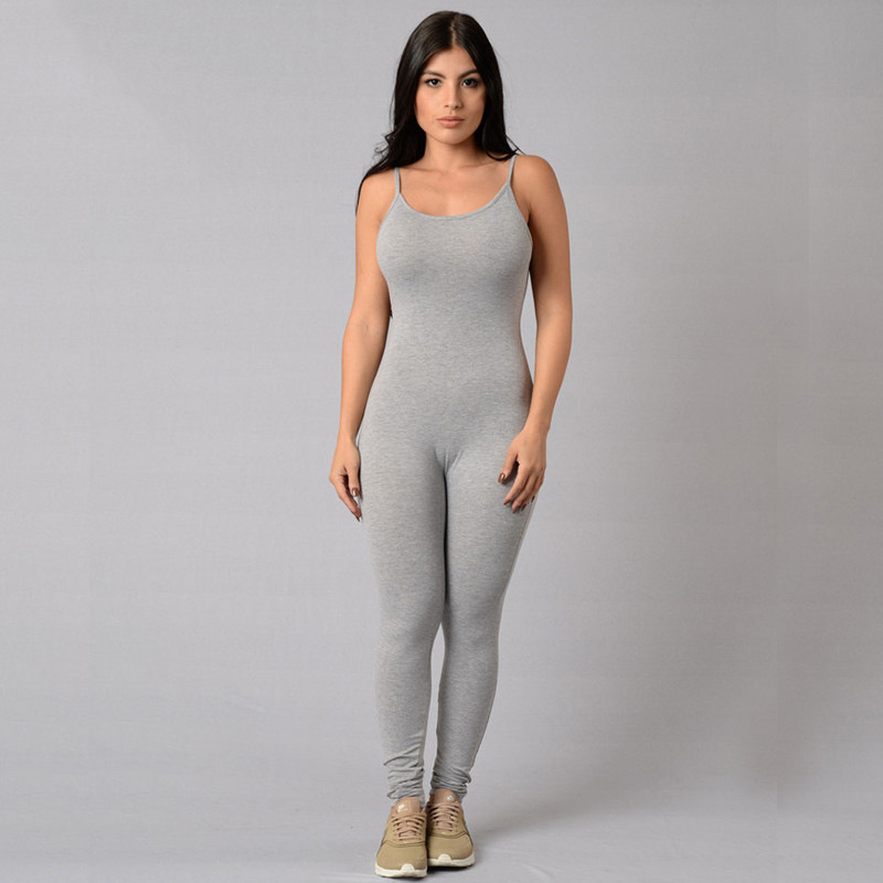 Woman Tight Sexy Bodysuit 2018 Solid Color Playsuit V-Neck Sleeveless Bodycon Cotton Grey/Black Rompers Womens Jumpsuit
