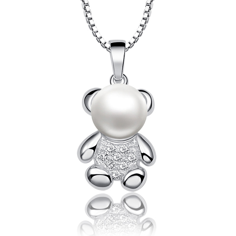Bear Half Round Natural White Pearl 925 Sterling Silver Pendant