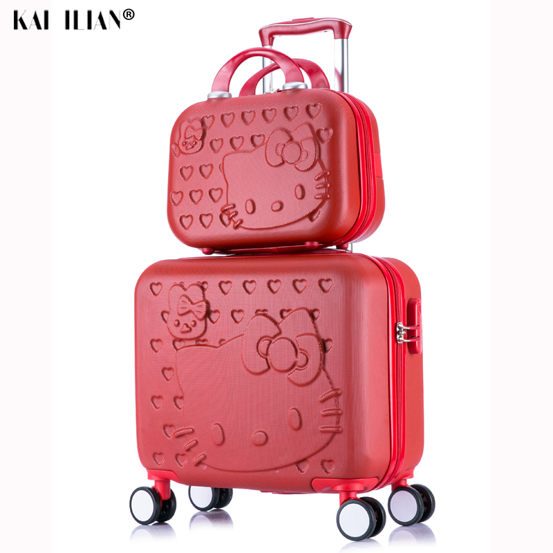 2PCS/SET Lovely hello Kitty 16 inches girl students trolley case 14inch child cartoon Travel luggage suitcase Boarding box gift2PCS/SET Lovely hello Kitty 16 inches girl students trolley case 14inch child cartoon Travel luggage suitcase Boarding box gift