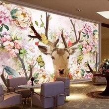 Deer head pink deer peony hand painted background wall professional making mural custom photo wallpaper