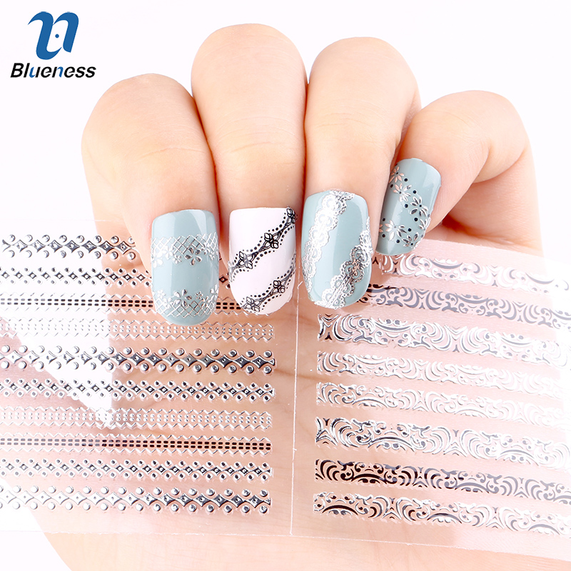 24 Pcs/Lot  Stripe Gliter Diy Decorations For Nails Beauty 3D Nail Art Of Bronzing Stamping Manicure Stickers JH151 Hot Sale diy template stickers for nails charms flower heart bow stamping nail art manicure guide