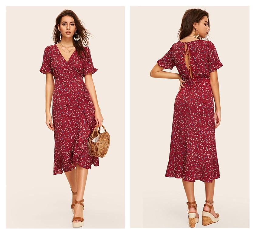 COLROVIE Burgundy V Neck Floral Print Tie Back Surplice Wrap Holiday Women Dress 2019 Summer Ruffle Hem High Waist Boho Dresses 9