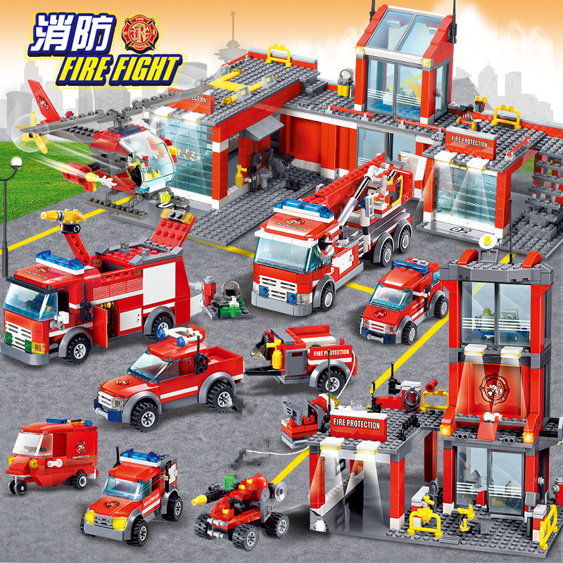 CITY FIRE FIGHT Building Blocks Sets Urban Firefighter Ladder Truck Car LegoINGLs Bricks Playmobil DIY Toys Christmas Gifts
