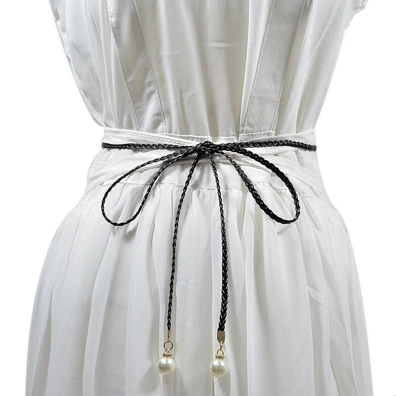 Simple Lady's Belt Knot Super Fiber Tassels Decorative Belt Tie-in Dress Ms.clothing Cummerbund High Quality Women's Woven Belts