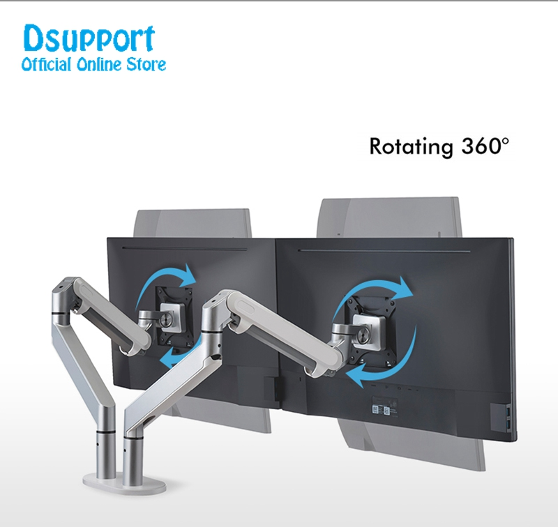 Dual Arm Monitor Mount Desk Stand Fully Adjustable Aluminum Monitor Holder Gas Spring Monitor TV Mounting
