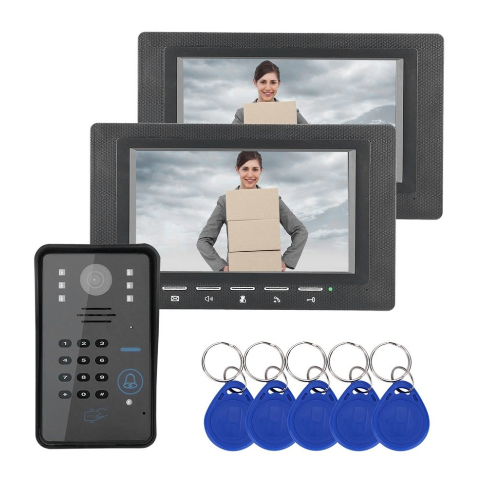 7inch 1V2 RFID Password Monitor Video Door Phone Intercom Doorbell With IR Camera Night Vision 1000TV Line Access Control System