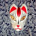 Full Face Hand-Painted Japanese Fox Mask Kitsune Black&Red Cosplay Masquerade for Party Carnival Halloween