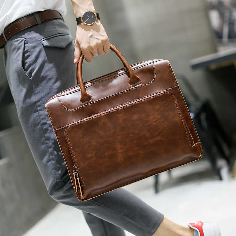 Brand Men's Briefcase Handbag Crazy Horse Pu Leather Messenger Travel Bag Business Men Tote Bags Man Casual Crossbody Briefcases