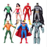 Anime 7pcs Set Superheroes Batman Green Lantern Flash Superman Wonder Woman PVC Action Figures Kids Toys