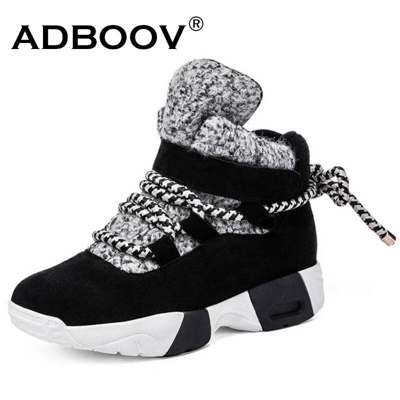 ADBOOV alta zapatillas de deporte de Mujer Plus tamaño 35-43 de gamuza de cuero genuino botas de invierno cálido zapatos de mujer zapatos de nieve botas