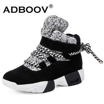 ADBOOV wysokie góry kobiety trampki Plus rozmiar 35-43 zamszowe buty do kostki ze skóry naturalnej ciepłe zimowe buty kobieta śniegowe buty