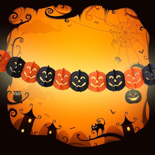 Pumpkin Face Banner Haunted House Hanging Garland Scary Halloween ...