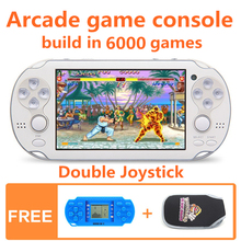 лучшая цена 64bit 4.3 Inch double joystick 40GB Handheld Game Console build in 6000 games Video Game Console Support FC/GB/GBC/GBA/SMC/SM