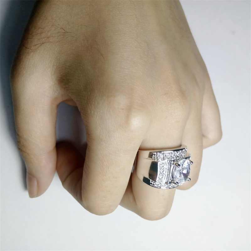 Yanleyu สไตล์ Hyperbole Big เครื่องประดับแหวน Original Solid 925 Sterling Silver Cubic Zirconia ชุดแต่งงานสำหรับสตรีและผู้ชาย PR205