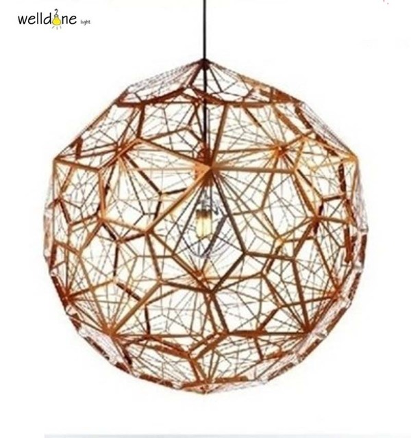 Chrome replicas modern copper etch web pendant lights stainless chrome replicas modern copper etch web pendant lights stainless steel lampshade home lighting kitchen lamp suspension mozeypictures Gallery
