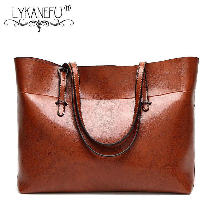 LYKANEFU/женская сумка в винтажном стиле из восковой искусственной кожи, женская кожаная большая сумка-тоут, сумки на плечо, верхние ручки Bolsa Feminina