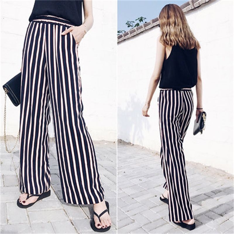 Loose Trousers Stretch waist Women Trousers Elegant Womens Trousers Black VertBrandical Striped High Waist   Wide     Leg     Pants