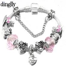 dinglly fashion heart charm bracelet for women pandora bracelet valentines gifts silver plated snake chain brecelet - Pandora Valentines Bracelet