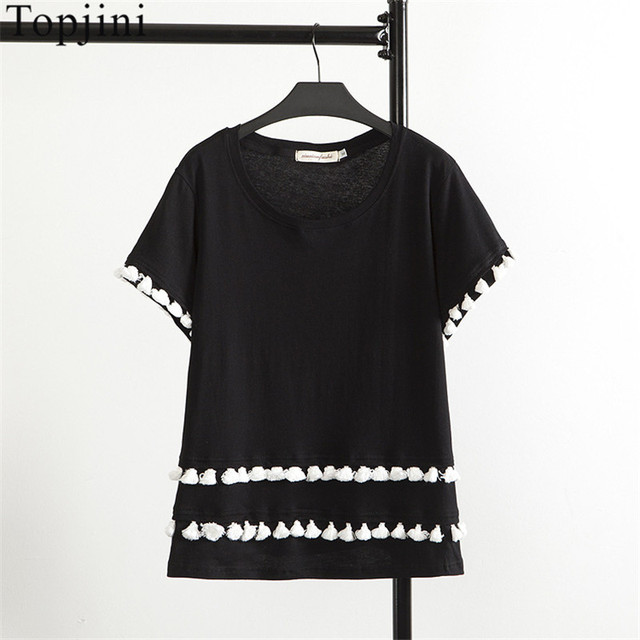 aab41ea3f Topjini Brand Plus Size Women New Casual T Shirts Short-sleeved Solid Color  T-