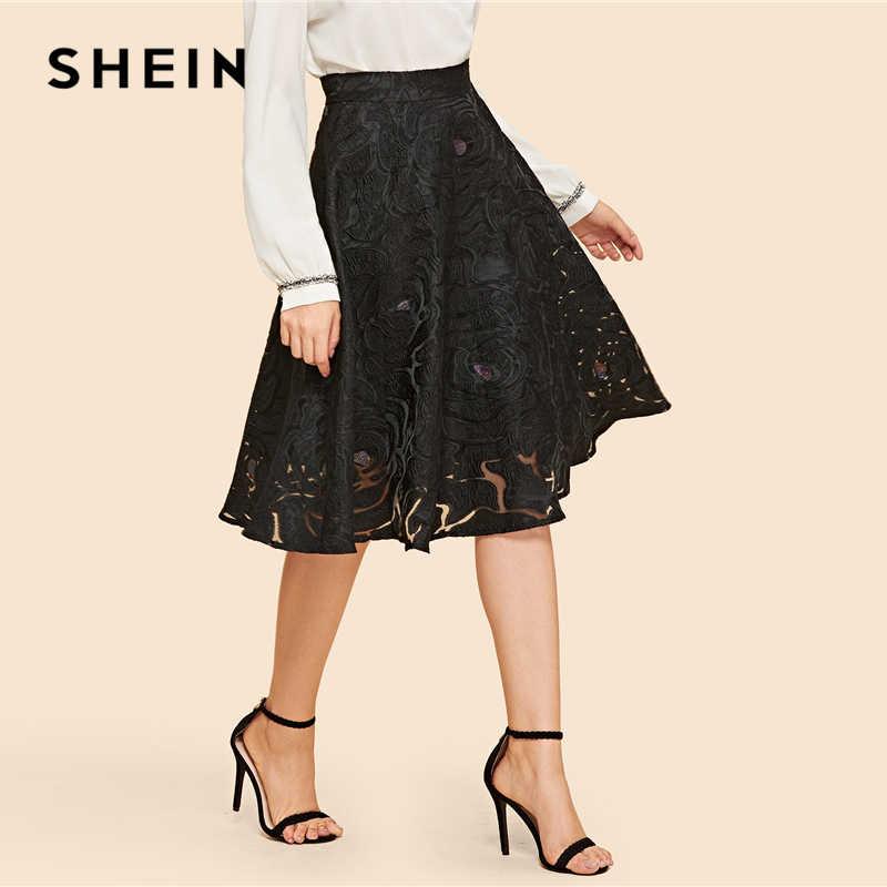 c34ae3aba6 ... SHEIN Black Vintage Elegant Floral Exposed Textured Zip Back Mid Waist Flared  Skirt 2018 Autumn Fashion ...