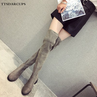 European and American star style thin leg boots Women knee boots are big size 35 41.Short plush and high heeled women shoes