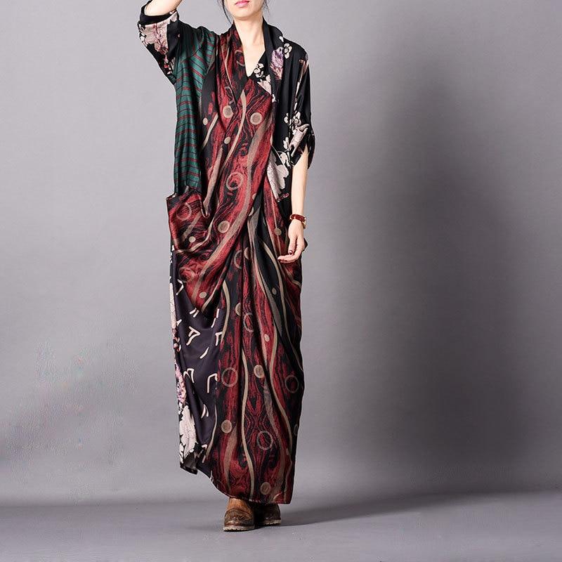 Women Spring Summer Patchwork Printed Dress Ladies Cross Mermaid Dress Female Retro Elegant New 2019 Dress