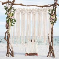 1.35*1.15m Boho Wedding Backdrop Party Photobooth Macrame Cotton Rope Tassel Curtain For Home Room Wall Hanging Decoration