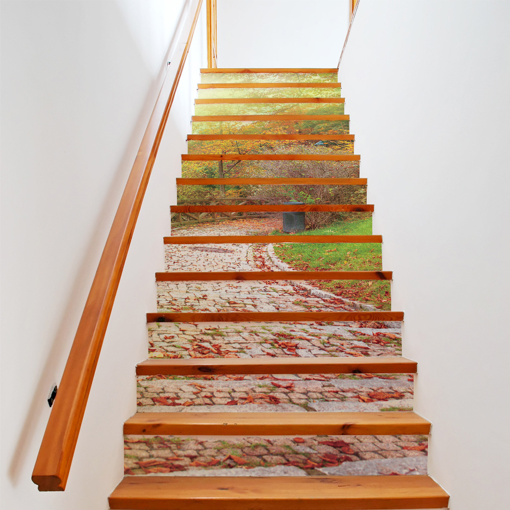 unidsset creativo diy d escalera pegatinas maana camino de piedra patrn de casa
