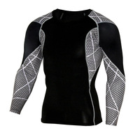 Men S Long Sleeve T Shirts Patchwork Dots Compression Tee Shirts Fitness Tops Quick Dry Workout