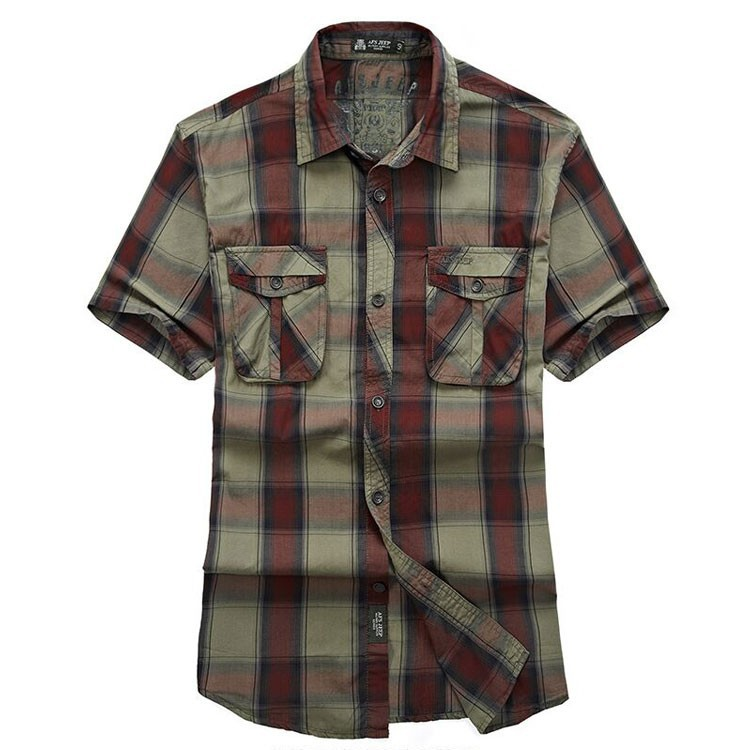 Red Green 2015 Summer Plaids Men Cotton Short Sleeve Dress Shirts Camisa Hombre Breathable Blouse Vestido Men Clothes Casual 3XL