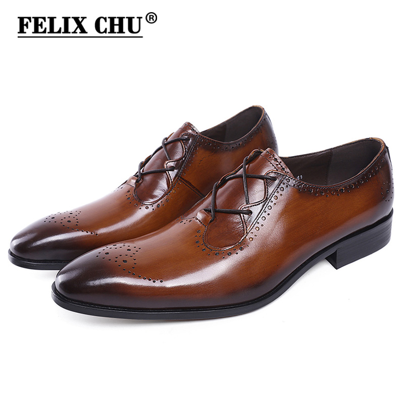FELIX CHU Stylish Luxury Genuine Leather Men Brogue Shoes Brown Black Oxford Party Wedding Suit Formal Footwear Male Dress Shoes