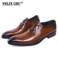 FELIX CHU Stylish Luxury Genuine Leather Men Brogue Shoes Brown Black Oxford Party Wedding Suit Formal Footwear Male Dress Shoes