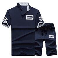 Летний мужской комплект костюм для фитнеса спортивная куртка воротник короткий рукав футболка + шорты быстросохнущая оптовая продажа мужс