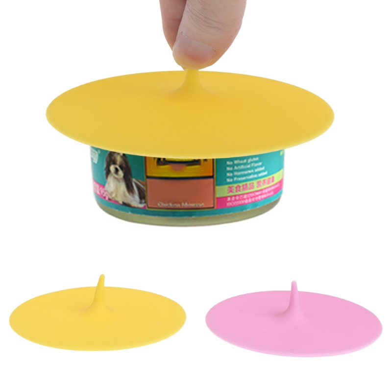 Pets Food Can Cover Silicone Dogs Cats Storage Tin Cap Lid Random Color Reusable